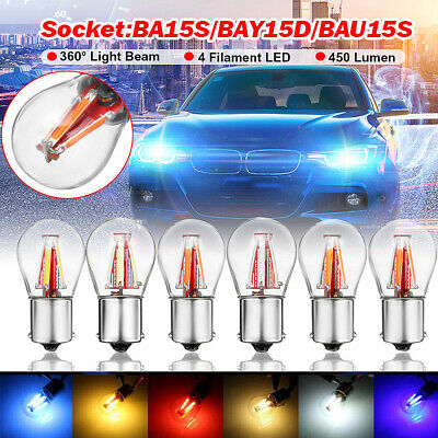4 COB LED Filament 1156 BA15S Turn Light Stop Brake Rear Reverse Bulb Lamp Car