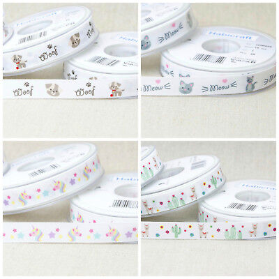 Dogs, Cats, Alpaca & Unicorn Ribbons, 15mm wide  Sold PER METRE