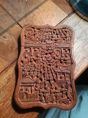 Superb Sandalwood Chinese Carved Card Case Circa 1880 artist signed.