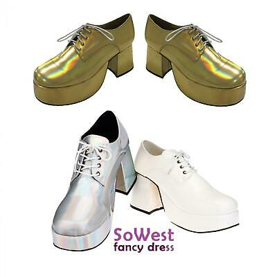 Fancy Dress Mens 70s 80s Party Platform White Silver Gold Shoes