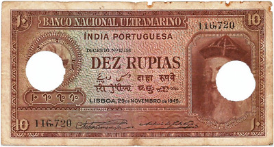 Portuguese India-Goa Rs 10 Dez Rupia Sign A8+P2 Note British Time Dt 29-11-1945