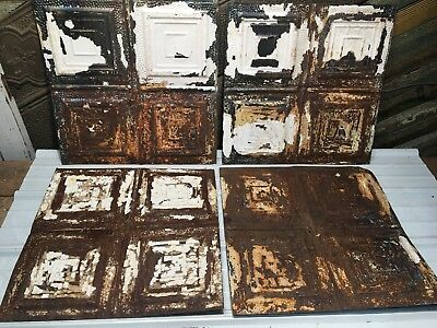 "4pc 23"" x 23"" Squares Antique Ceiling Tin Vintage Reclaimed Salvage Art Craft"