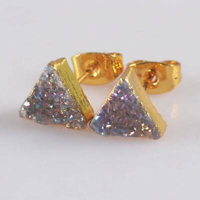 8mm Triangle Natural Agate Druzy Titanium AB Stud Earrings Gold Plated H122622