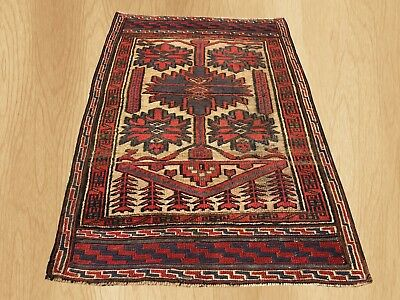 Authentic Hand Knotted Vintage Afghan Barjista Wool Area Rug 4 x 3 FT (5410)