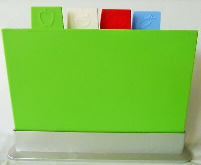 Kitchen Additions Large 4 colour-coded Chopping Boards Set Storage Organizer