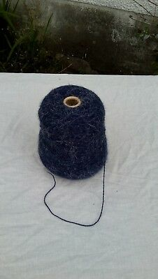 Cone of Machine Yarn. Possibly Mohair . Blue. 375g