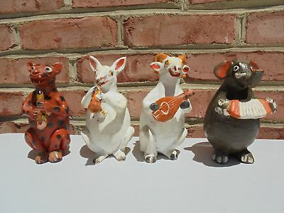 4 Vintage Mexican Pottery Animal Musician Band Figures w Instruments