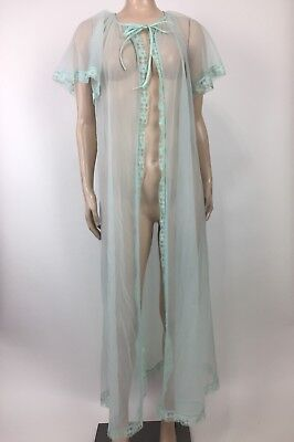 "Vintage St. Michael Lingerie Nightgown 36"" Blue Chiffon & Nylon S/S Sheer DD32"