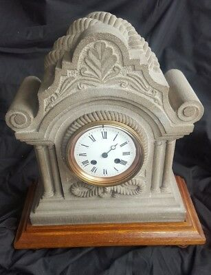 ANTIQUE Stone carved ,Manor house  MANTLE CLOCK .