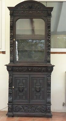 Large Country Oak Dome Top Bookcase Heavily Carved   Free Shipping England