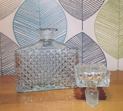 Vintage Cut Crystal Glass Decanter with stopper, Whisky bottle
