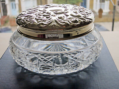 Crystal Glass Dressing Table Jar With Sterling Silver Lid by Carrs of Sheffield
