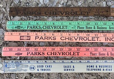 Lot of 5 Parks Chevrolet Advertising Yard Sticks Corydon Indiana IN Chevy Dealer