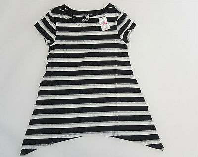 NWT Justice Kids Girls Size 8 Black Gray Silver & White Heart Choker Swing Top
