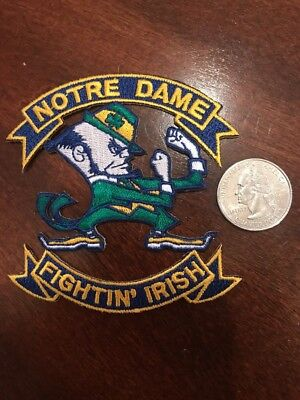 """Notre Dame Fighting Irish Vintage Embroidered Iron On Patch 3"""" X 3"""" A1 Grade"""
