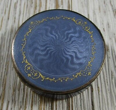 Guilloche Enamel Pill Snuff Box Container Sterling Silver 925 Vintage 51.4 Grams