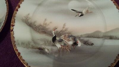 Kutani  Meiji  Eggshell porcelain Japanese tea plates h/painted birds