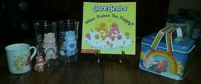 Vintage Care Bears Lot - Limited Edition Collector's Glass, Cup, Book & Figurine