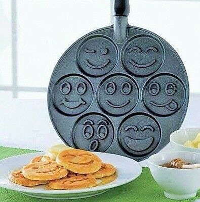 7 Smiley Face Designs Pancake Pan Party Maker Non-Stick Cooking 26cm