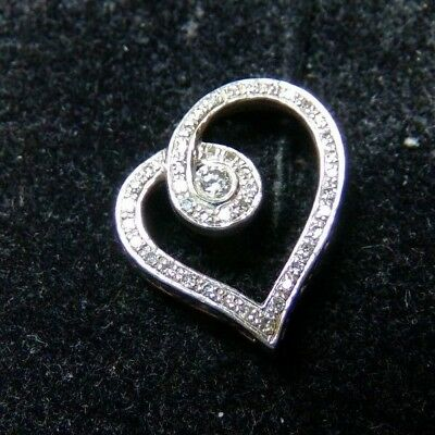 43d00c87f Kay's Jewelers 925 Sterling Silver 45 Diamond Heart Pendant .52tcw Slider  1.3g