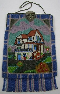 Beaded Purse Large Vintage Micro Bead Metal Frame House Unique