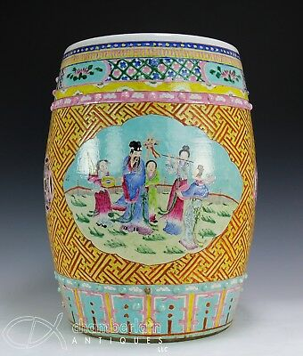 Antique Chinese Barrel Form Garden Seat With Reserves Of Figures