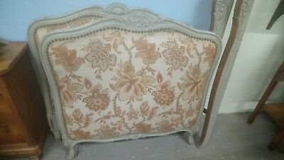 French antique single size painted carved fabric upholstered bed