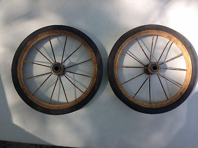 2 Vintage Metal Spoke Buggy Wagon Stroller Carriage Rubber Wheels Tires 8""