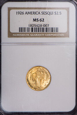 1926 $2.5 Gold AMERICA SESQUICENTENNIAL COMMEMORATIVE ** NGC MS 62 Lot#B323