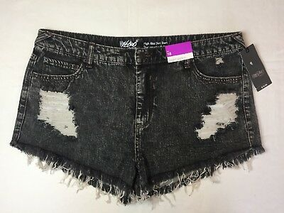 "MOSSIMO Women's Black Denim Short Shorts 2"" Inseam Size 18 High Rise Distressed"