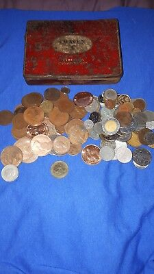 JOB LOT of coins in an old tin