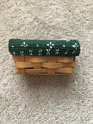 Rare Small Longaberger Sugar Holder Basket Green Liner