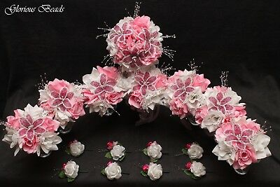 Wedding Bouquet Package PINK FUCHSIA Flower 16 PC BEADED Lily Rose Quinceanera