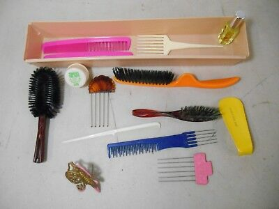 Vintage Lot of Hair Brushes, Combs, and Pics- Avon, Stanley, Goody, Bee Plastics