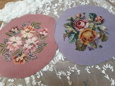 Two Vintage Tapestry Floral Handmade Wool Embroidery Shabby Chic Cottage