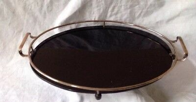 Vintage Art Deco Drinks Cocktail Bar Tray Black Opaque Glass And Silver Plate