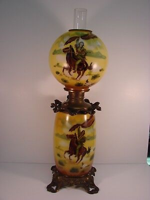 Antique Native American Indian Horseback GWTW Gone With The Wind Lamp Western
