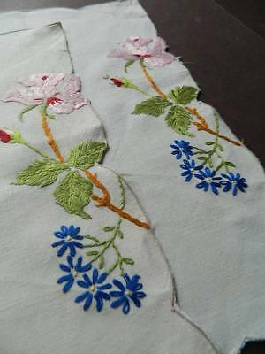 Pair vintage hand embroidered Irish linen table toppers or tray cloths - Roses