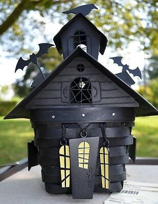 Longaberger 2012 HAUNTED HOUSE Halloween Basket COMBO Lid Protector & Tie-on Set