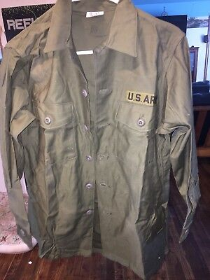 1960S Vintage Rare US ARMY OG-107 Jacket blouse Cotton Sateen US Military