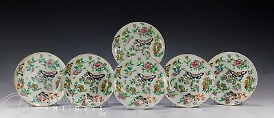 SET OF SIX ANTIQUE CHINESE FAMILLE ROSE PORCELAIN PLATES - 1800's