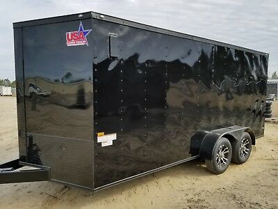 7x16 7 x 16 Enclosed Trailer Cargo BLACKOUT V-Nose Ramp 14 utility 18 IN STOCK