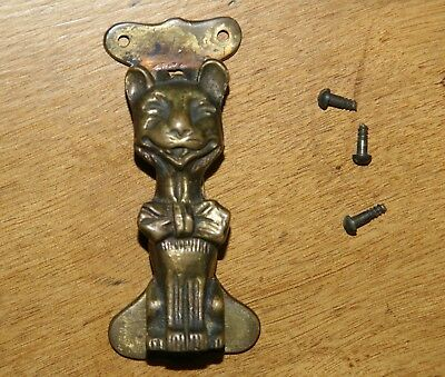 "Vintage CHESHIRE CAT Brass Door Knocker Original Screws ~ 4""L x 1""W"