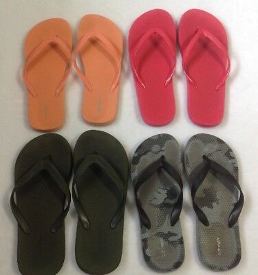 Women's Old Navy Flip Flops Sz 8 Large 4 Pair Lot Sandals Camo Pink Green Shoes