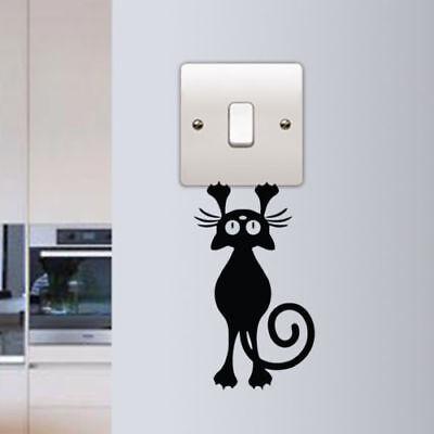 3 X Funny hanging  Cat Light Switch plug socket Wall Art Vinyl Decal Sticker V26