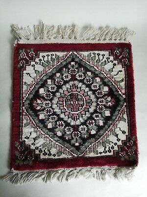 A Superb Small Old Hand Made Silk Persian Rug, Mat, 31X34 Cm