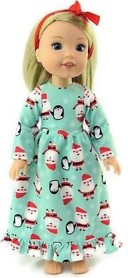 """Christmas Santa Nightgown fits 14.5"""" American Girl Wellie Wishers Doll Clothes"""