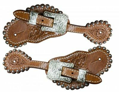 Showman Ladies Leather Pink Ribbon Spur Straps New Horse TACK!