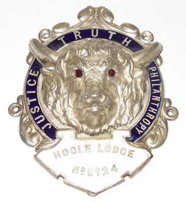 Antique Silver Enamel Masonic Jewel or Masonic Car Badge HOOLE LODGE No5124 JTP