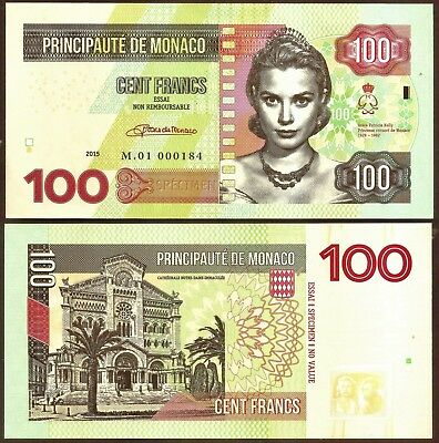 Monaco -  Fr. 100 Privately Issued Test Specimen Banknote. UNC...just 99p start.